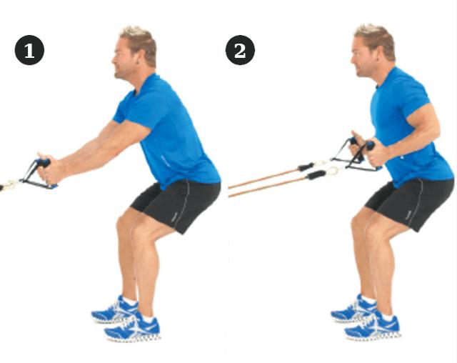 Tirage horizontal avec elastiques de musculation